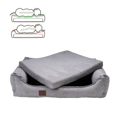 orthopedic dog bed Louis, Velours Optik/Suede leather... Zweites Bild