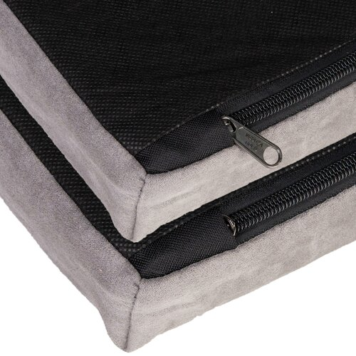 orthopedic dog bed Louis, Velours Optik/Suede leather imitation, Grau