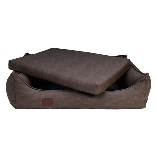 orthopedic dog bed Rocco, leatherette very sturdy, Colour Braun