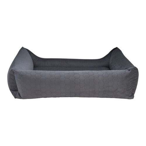 orthopedic dog bed Snowy, samtiger Velours with Prägung, Colour Dunkelgrau