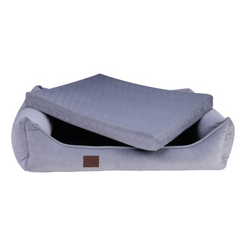 orthopedic dog bed Snowy, samtiger Velours with Prägung, Colour Grau