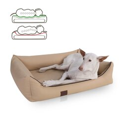 orthopedic dog bed Buddy, leatherette, Colour Beige 100 x 80