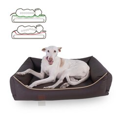 orthopedic dog bed Buddy, leatherette, Colour Braun 100 x 80